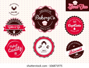 Set of vintage retro bakery badges and labels