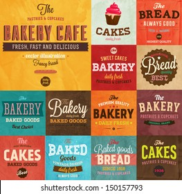 Set of vintage retro bakery labels and logo badges, paper textures set