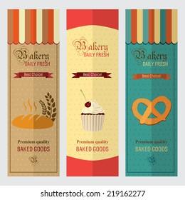 Set of vintage retro bakery labels and logo badges, paper