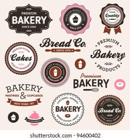 Set of vintage retro bakery logo badges and labels
