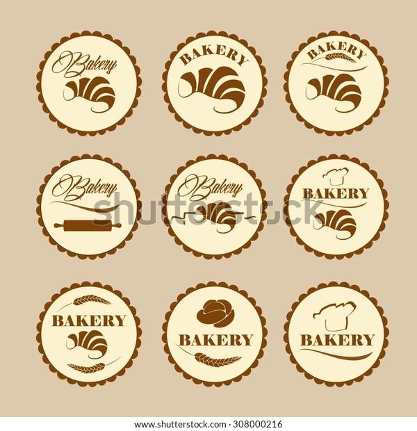 Set of vintage retro bakery logo badges and labels.