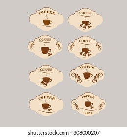Set of vintage retro coffee badges and labels. Coffee and a croissant.