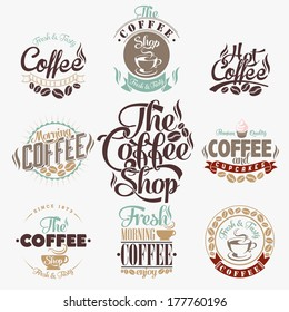 Set Of Vintage Retro Coffee decoration collection, calligraphic and typographic elements styled design, frames, labels. Vector.