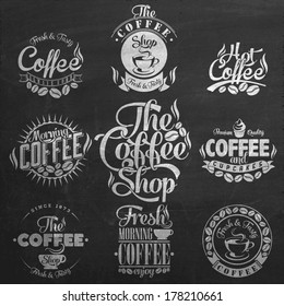 Set Of Vintage Retro Coffee decoration collection On Blackboard, calligraphic and typographic elements styled design, frames, labels. Vector.