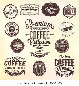 Set Of Vintage Retro Coffee Labels, decoration collection, calligraphic and typographic elements styled design, frames. Vector.