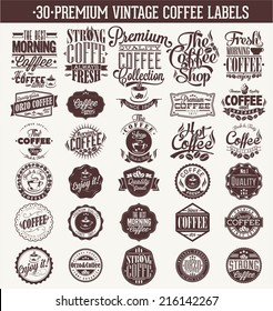 Set Of Vintage Retro Coffee Labels. decoration collection | calligraphic and typographic elements styled design, frames. Vector.