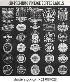 Set Of Vintage Retro Coffee Labels On Chalkboard.decoration collection | calligraphic and typographic elements styled design, frames. Vector.