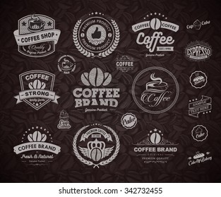 Set of vintage retro coffee labels and badges.