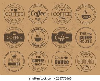 Set of vintage Retro Coffee Labels,vector