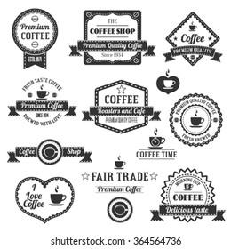 Set Of Vintage Retro Coffee Shop Labels