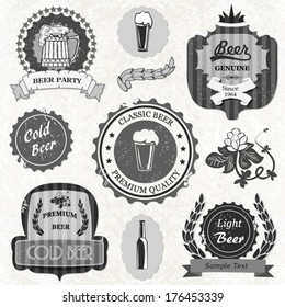 Set of vintage retro grunge beer labels and icons