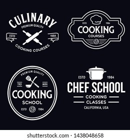 Set of vintage retro handmade badges, labels and logo elements, retro symbols for cooking school, culinary courses, food or home cooking. Vector illustration.
