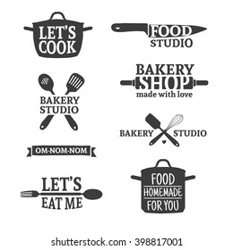 Set of vintage retro handmade badges, labels and logo elements, retro symbols for bakery shop, cooking club, food studio or home cooking. Template logo with silhouette cutlery. Vector.