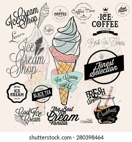 Set of vintage retro Ice Cream labels and Coffee badges.