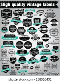 Set of vintage retro labels, stamps, ribbons, marks and calligraphic design elements, vector