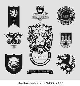 Set of vintage retro labels, stamps, ribbons, marks and frames. Design elements in vector.