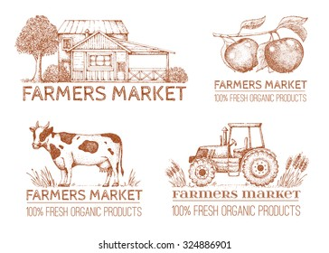 Set of vintage retro logo. Labels and design elements. Tree, apple, house, tractor.  Hand drawn illustration. Farmers market.
