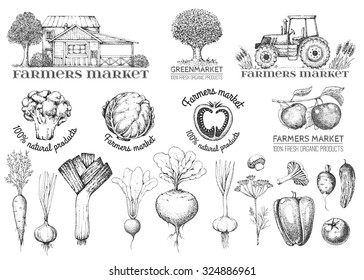 Set of vintage retro logo. Labels and design elements. Tree, tractor, apple, house, vegetables.  Black and white. Hand drawn illustration. Farmers market.