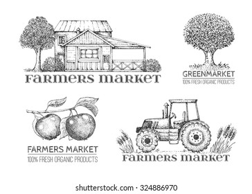 Set of vintage retro logo. Labels and design elements. Tree, tractor, apple, house. Black and white. Hand drawn illustration. Farmers market.