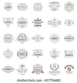 Set of vintage retro logotype templates. Collection of 25 items. Vector logo design elements. Icon symbols. Labels. Badges. Black and brown colors