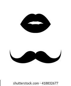 Set of vintage retro mustache and female lips icons, mr. and mrs. symbols, monochrome vector illustration