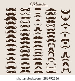 Set of vintage and retro mustache for hipster style design. Illustration eps10