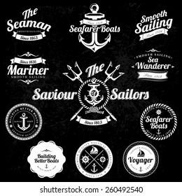 Set Of Vintage Retro Nautical Badges And Labels on chalkboard