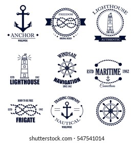 Set of vintage retro nautical badges and labels. Nautical badges anchor sea symbol. Traditional vector insignia style element nautical badges label design graphic illustration stamp.