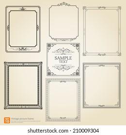 Set of Vintage or Retro picture frame vector design