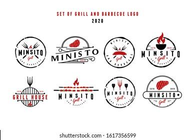 Set of vintage Retro Rustic BBQ Grill, Barbecue, Barbeque Label Stamp Logo design vector