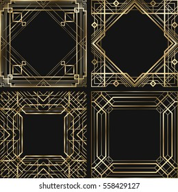 Set of vintage retro style invitation  in Art Deco. Art deco border and frame. Creative template in style of 1920s. Vector illustration. EPS 10