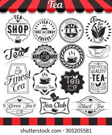 """Set of vintage retro tea elements styled design, frames, vintage labels and badges.See more in set """"Labels"""" of my portfolio"""