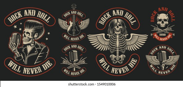 Set of vintage rock and roll emblems with skeleton character on dark background. Perfect for the shirt designs and many other. Text is on the separate group.