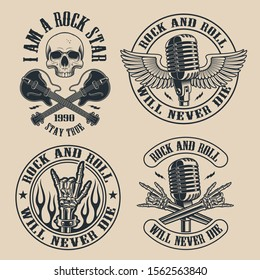 Set of vintage rock and roll emblems with skull on dark background. Perfect for the shirt designs and many other. Text is on the separate group.