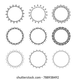 Set of vintage round decorative borders. Vector illustration.
