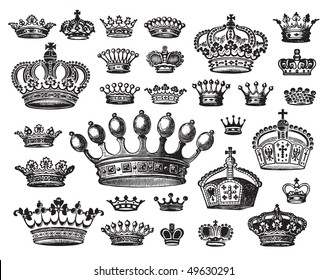 7d02c035064 Set of vintage royal crown patterns