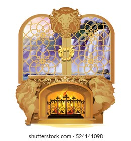 Set of vintage Royal interior isolated on white background. Burning fireplace decorated with stone figures of lions under window overlooking waterfall and forest. Vector cartoon close-up illustration.