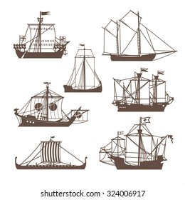 Set of vintage sailing ships. Vector illustration isolated on white