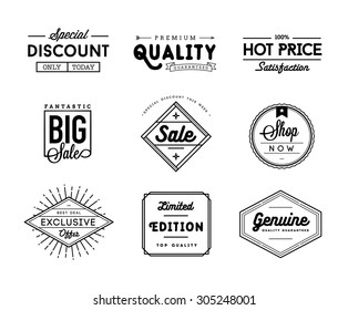 set of vintage sale and commerce badges, vector illustration