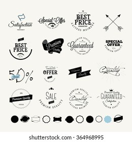 Set of Vintage Sales Label and Premium Quality Stickers and Badge