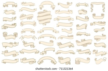 set of vintage scrolls ribbons on white. old blank banners vector illustration