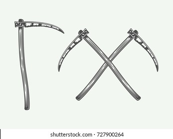 Set of vintage scythes in retro style. Monochrome Graphic Art. Vector Illustration.
