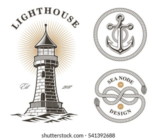 set of vintage sea elements, lighthouse, anchor and knot