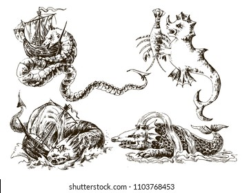 Set of vintage sea monsters. Vignette with a sea dragon. Design on the theme of pirates, adventures, discoveries, old sailboats. Painted by hand. Vector. EPS10.
