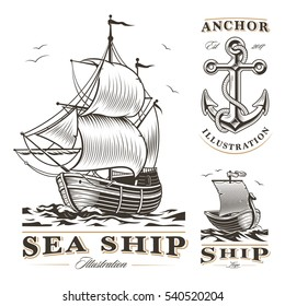 Set of vintage sea ships labels