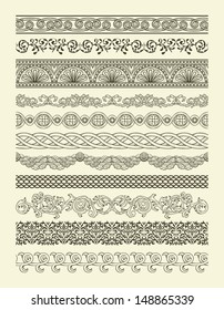 Set of vintage seamless borders