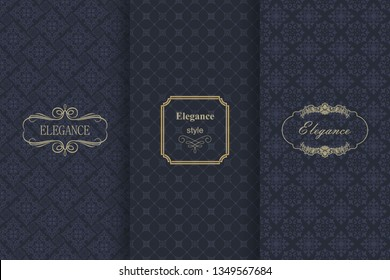 Set of Vintage seamless damask pattern. Collection of design elements, labels, icon, frames for packaging, design of luxury product. Template greeting card, invitation and advertising banner, brochure