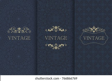 Set of Vintage seamless damask pattern and elegant floral elements in dark blue, black and gold. Collection of design elements, labels, icon, frames for packaging,design of luxury products. Invitation