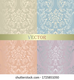 A set of vintage seamless Damask patterns. Golden collection of pastel colors of the ornament. Brilliant blue, green-beige, pink, purple background. Openwork fashion Wallpaper, lace fabric in vector