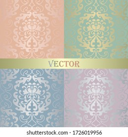 A set of vintage seamless Damask patterns. Golden collection of pastel colors of the ornament. Brilliant blue, green, pink, purple background. Openwork fashion Wallpaper, lace fabric in vector